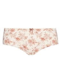 Cream Floral Print Shorts