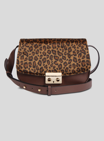 Brown Leopard Print Saddle Bag