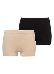 Two Pack Black Seamfree Firm Control Shorts
