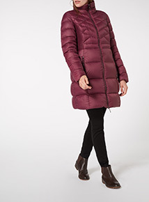 Black Quilted Feather And Down Parka