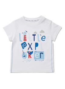 White 'Little Explorer' Print T-Shirt (0-24 months)