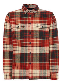 Brown Borg Lined Check Overshirt