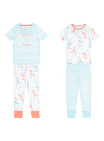 Mermaid PJ Set 2 Pack (1 - 12 years)