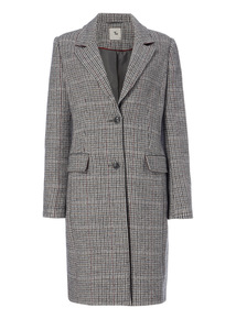 Checked Tweed Pattern Coat