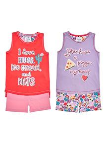 Pink Slogan Print PJ Set 2 Pack (5 - 14 years)