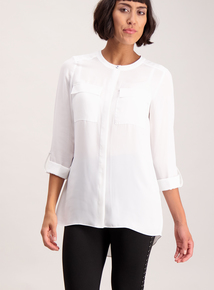 Cream Roll-Sleeve Shirt