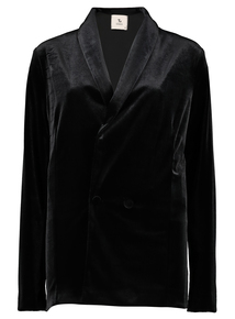 Black Lightweight Velvet Double Breasted Jacket