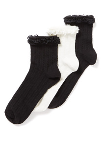 3 Pack Black and White Frill Socks
