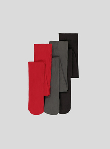 Multicoloured Ribbed Opaque Tights 3 Pack (2-12 years)