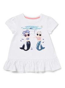 White Mermaid Girl T-Shirt (9 months-6 years)