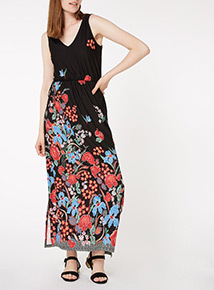 Multicoloured Floral Border Maxi Dress
