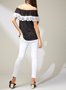 Premium Monochrome Lace Bardot Top