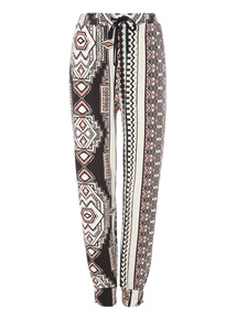 Multicoloured Patterned Drapey Trousers