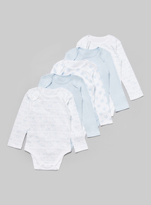 5 Pack Blue Printed Long Sleeve Bodysuits (Tiny baby - 36 months)