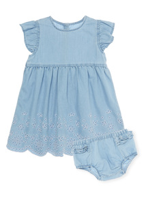 Denim Chambray Dress With Knickers (0 - 24 months)