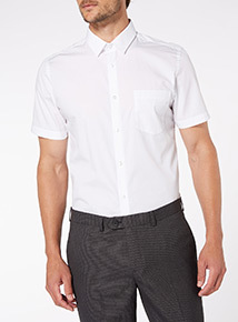 White Slim Fit Short Sleeve Shirts 2 Pack