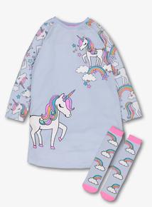 2486d702994a2e Blue Unicorn Nightie   Sock Set (3-12 Years)