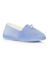 Blue Velour Slippers