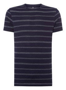 Navy Piqué Striped Crew T-shirt