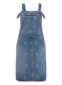 Blue Embroidered Denim Dungaree Dress