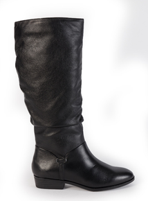 Sole Comfort Black Leather Knee-High Boots