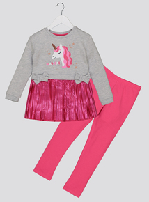 Multicoloured Unicorn Motif Dress Set (1-6 years)