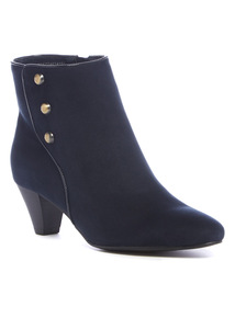 Navy Military Button Ankle Boots
