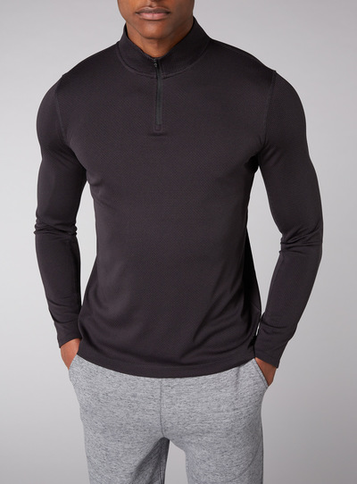 Admiral Black Jacquard Zip Neck Sweatshirt
