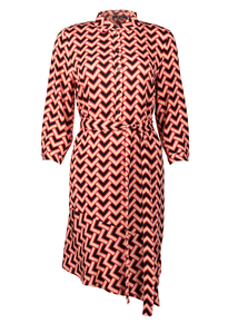Multicoloured Asymmetric Hem Belted Shirt Dress