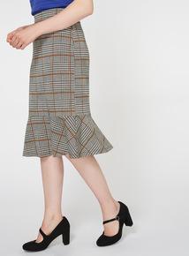 Monochrome Dogtooth Print Midi Skirt
