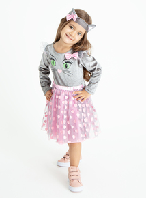 Halloween Pink and Grey Cat Dress with Tail (0-4years)
