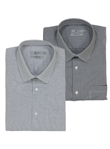Black Gingham & Check Easy-To-Iron Cotton Rich Shirt 2 Pack