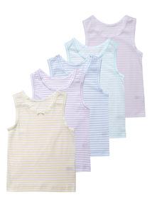 5 Pack Multicoloured Pastel Stripe Vests (1.5-12 years)