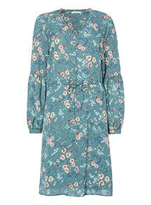 Floral Deep V Tea Dress