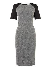 Monochrome Textured Illusion Dress