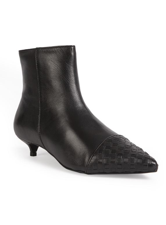 Womens Premium Black Kitten Heel Ankle Boots  342b54c55