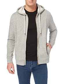 Cream Salt and Pepper Zip Hoodie