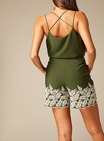 Premium Leaf Embroidered Co-ord Shorts