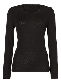 Pointelle Thermal Long Sleeve Top