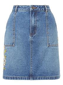 Mid Denim Studded Mini Skirt