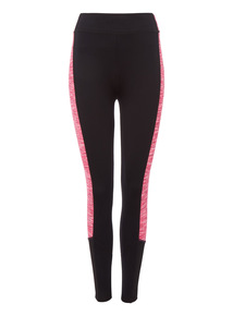 Black Space Dye Panel Active Leggings