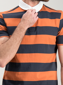 0914c4a90ee7 Navy   Rust Stripe Rugby Shirt