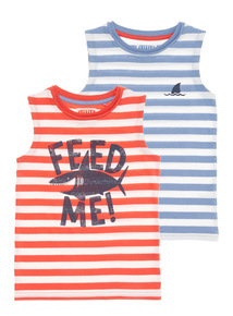 Multicoloured Shark Vests 2 Pack (9 months - 6 years)