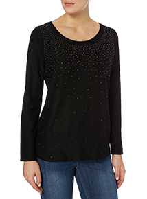 Black Sequinned Knit Top
