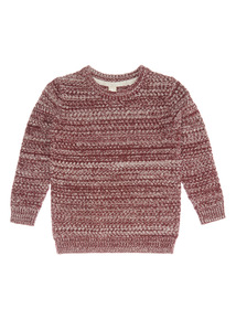 Red and Cream Twisted Knit Jumper (3-14 years)