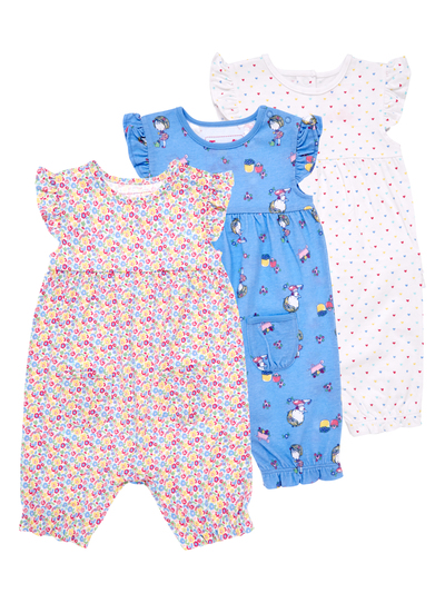 597dcceacd0b Girls Multicoloured Romper Suits 3 Pack (0-24 months)