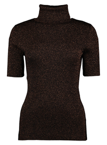 Brown Glitter Ribbed Top