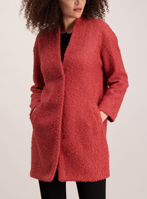 Burnt Orange Boucle Knit Coatigan