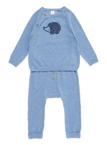 Light Blue Hedgehog Knitted Set (0-24 months)