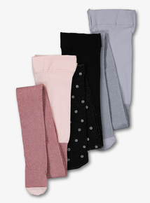 Multicoloured Glittery Opaque Tights 3 Pack (2-12 years)
